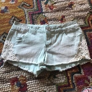 short-shorts with lace detailing